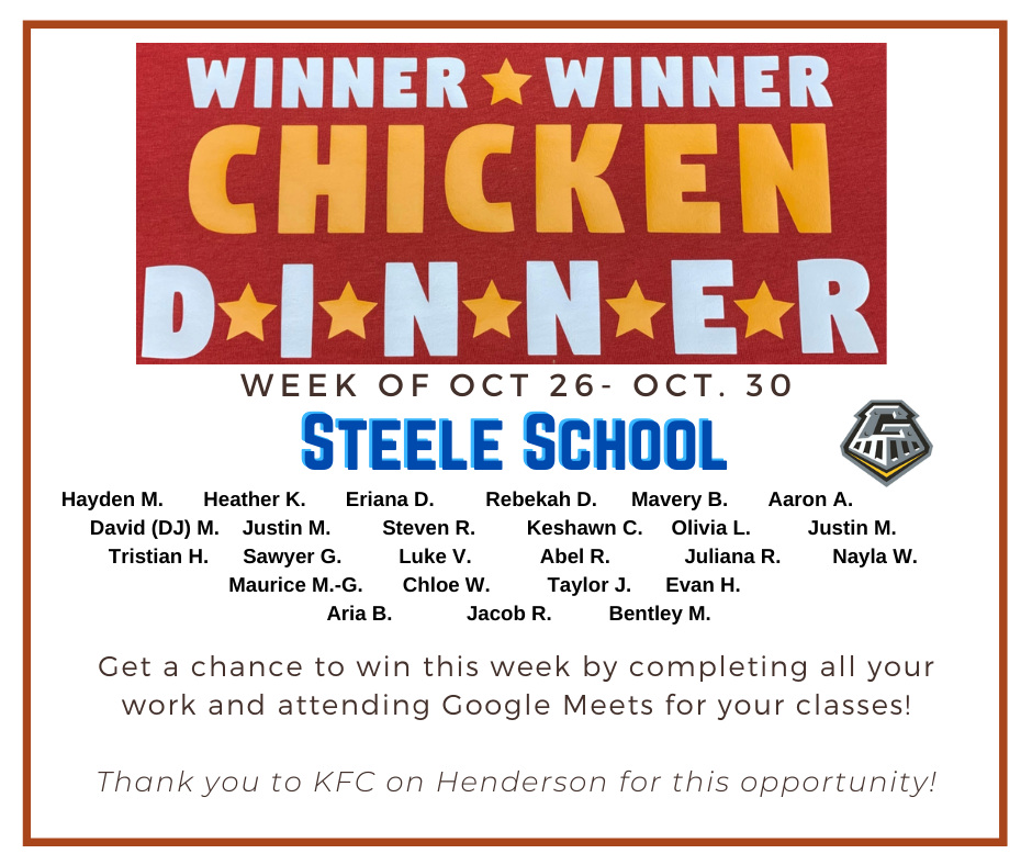 Winner Winner Chicken Dinner 10/26/2020-10/30/2020