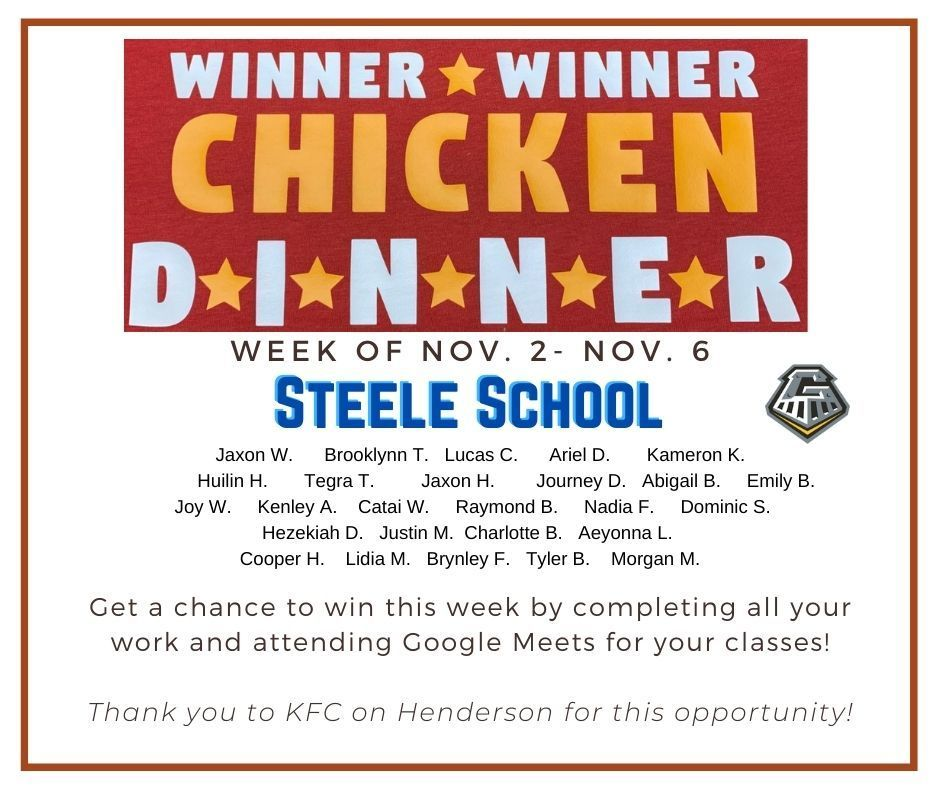 Winner Winner Chicken Dinner 11/2/2020-11/06/2020