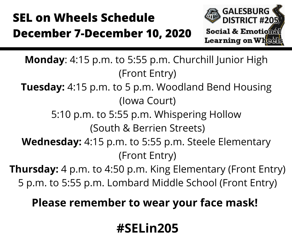 SEL Week of December 7 schedule