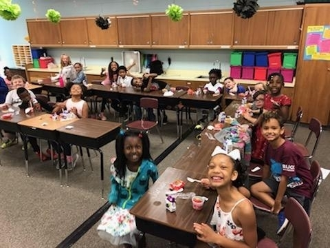 Third grade loved the breakfast this morning--look at these smiles!