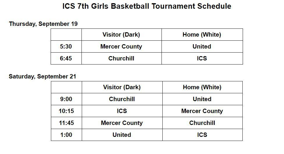 Game Schedule and Times