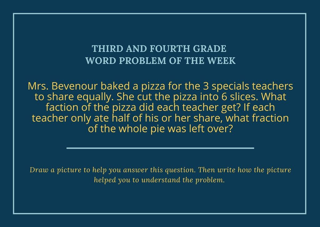 3rd and 4th Grade Word Problem of the Week
