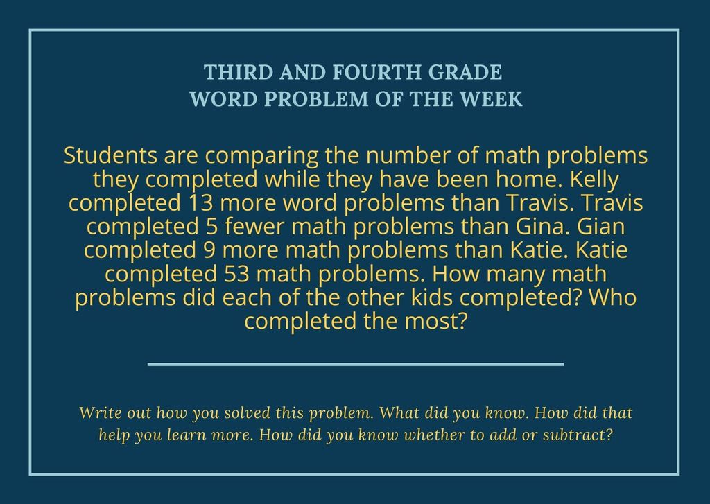 3rd - 4th Grade Word Problem of the Week