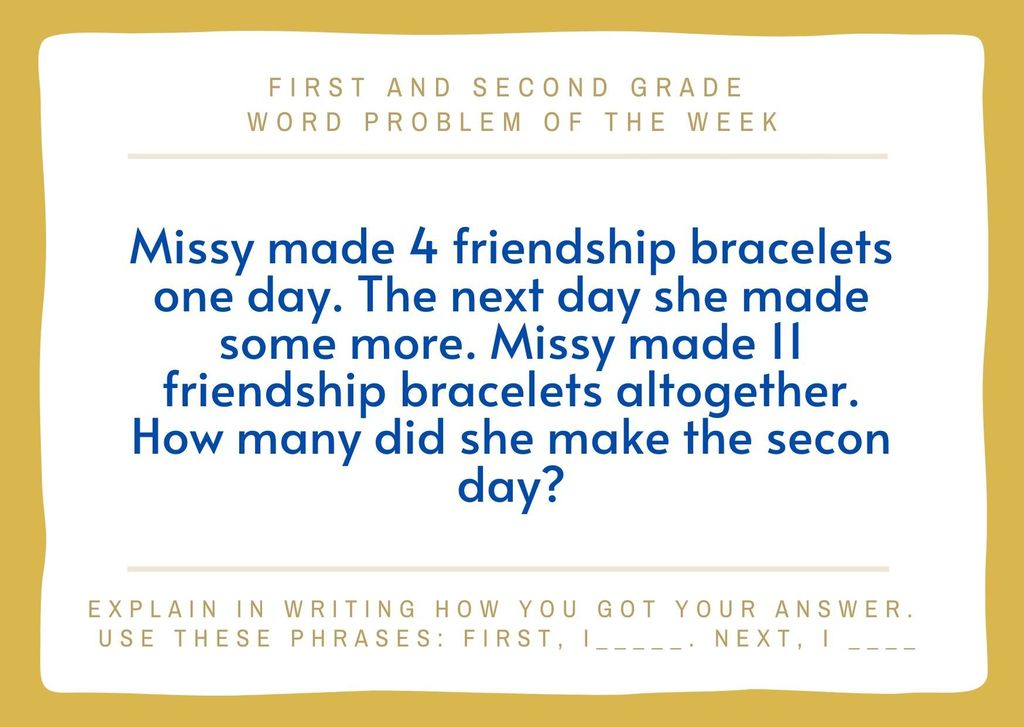 1st - 2nd Grade Word Problem of the Week