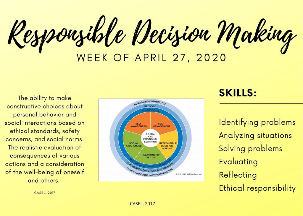 Focus of the Week: Repsonsible Decision-Making